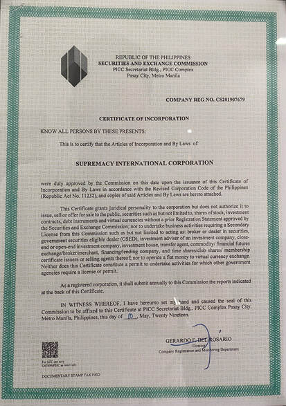 Supremacy International Corporation Legalities Business Permits License about company Official Website Main Office